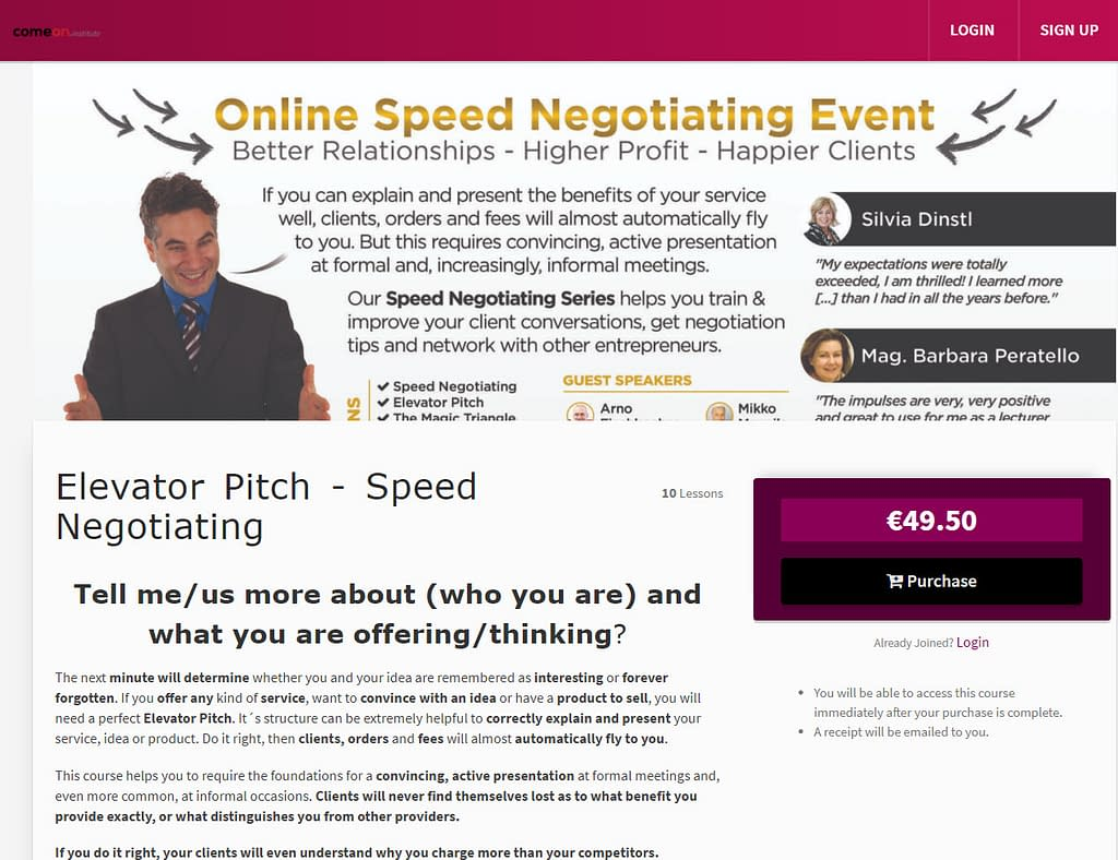 Speed Negotiating Elevator Pitch Online Course