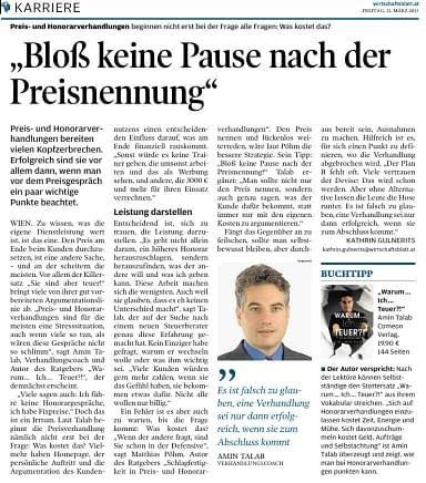 Wirtschaftsblatt Karriere Artikel